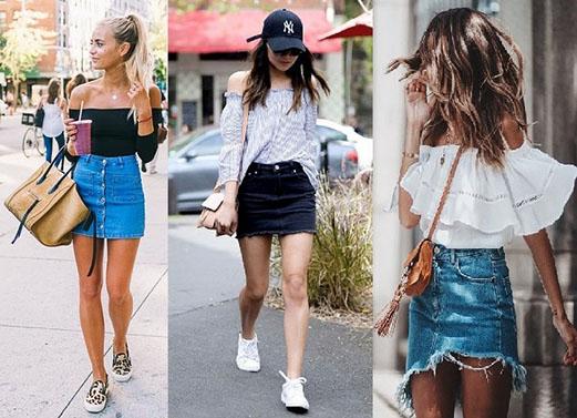 Chân váy jean là một item đa phong cách dành cho các bạn gái.