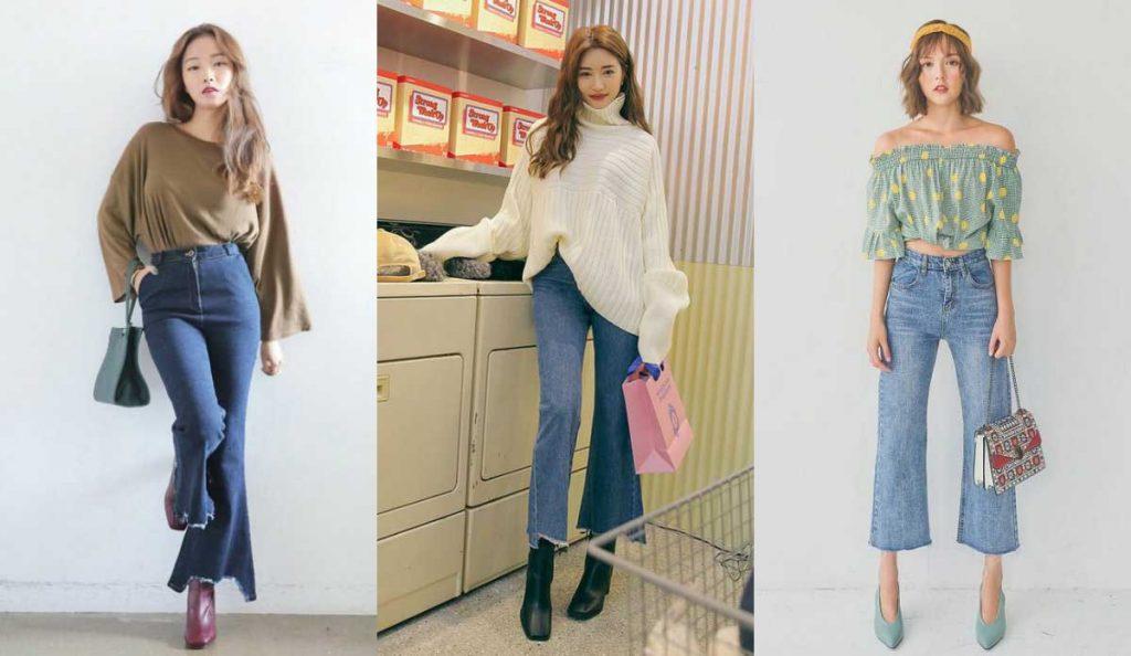 Quần jean ống loe có thể kết hợp với nhiều kiểu áo khác nhau.