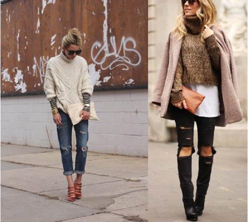 kết hợp len cùng jean rách